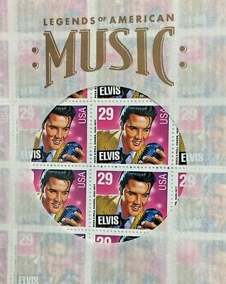 1993 Elvis Legends Of Music 29 Cent Mint Stamp Sheet ~ MNH