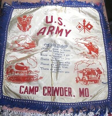 "Vintage satin pillow cover souvenir US ARMY Camp Crowder Mo. WWII ""SISTER"" wwo ᵛ"