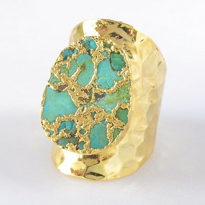 Defective Size 7 Blue Copper Turquoise Ring Gold Plated H96928