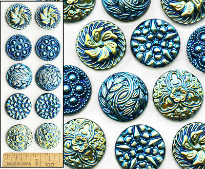 18mm Vintage Czech Glass Blue AB Shankless No Shank Cabochon Buttons 10pc 5PAIRS