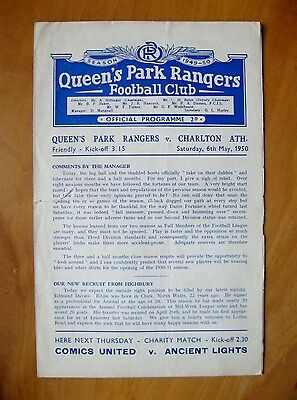 QUEENS PARK RANGERS QPR v CHARLTON ATHLETIC Friendly 1949/1950 *Good Condition*