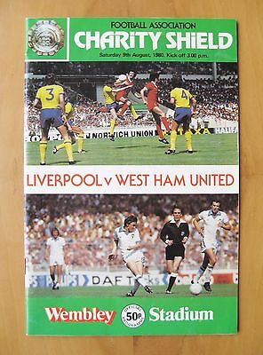 1980 Charity Shield LIVERPOOL v WEST HAM UNITED *VG Cond Football Programme*