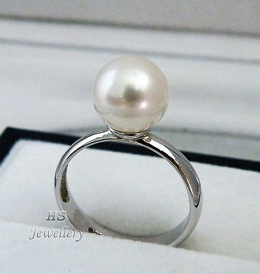 HS Rare 9.6mm South Sea Cultured Pearl Ring 925 Sterling Silver Top Grading