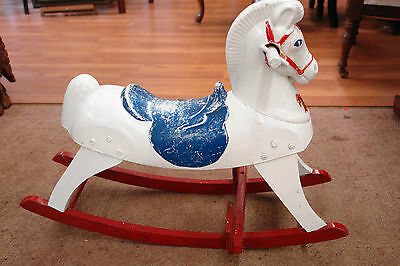 Vintage Train Rite Rocking Horse Red White & Blue Harry Wood Composition