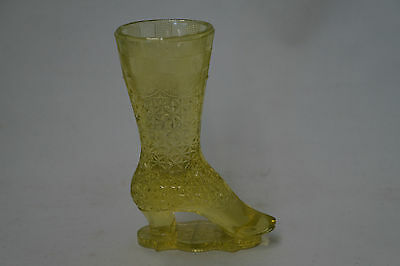 Antique Glass Boot Vaseline Bellaire Goblet Co.- Ohio Bouquet Holder Findlay