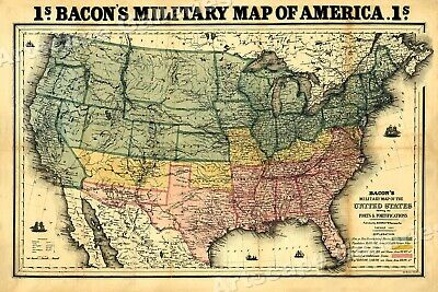 1860s Bacon's Military Map of America - Civil War Map Poster - 20x30