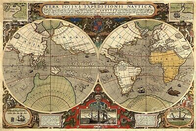 1590s Old World Map Poster - Francis Drake's Voyages around the World - 20x30