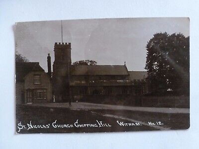 Vintage Postcard St Nicolas Church Chipping Hill Witham Real Photo (S)