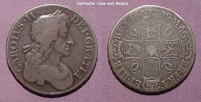 1679 King Charles Ii Silver Crown  - T. Primo - Fourth Bust