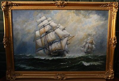 Very Large Gilt Framed Painting On Canvas Of Ships At Sea By Andrew Kennedy