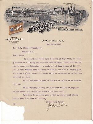 SCHLITZ LETTERHEAD  DATED MAY 24th. 1911 The Beer That Made Milwaukee Famous