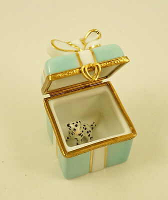 New French Limoges Trinket Box Turquoise Gift Box Gold Bow & Dalmatian Dog Puppy