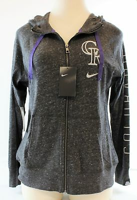 Nike Womens Coloado Rookies Vintage Hoodie #MLBWGVFZ Heather Black Sz L Retail $