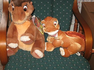 "Vintage 1988 Land Before Time 18"" Little Foot Gund Plush And Smaller Little Foot"