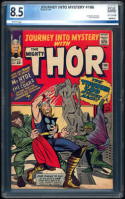 """JOURNEY INTO MYSTERY with THOR #106 """"1964"""". PGX Graded 8.5 with White Pages!"""