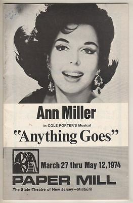 """Ann Miller   """"Anything Goes""""   1974   Playbill   Paper Mill  Playhouse"""
