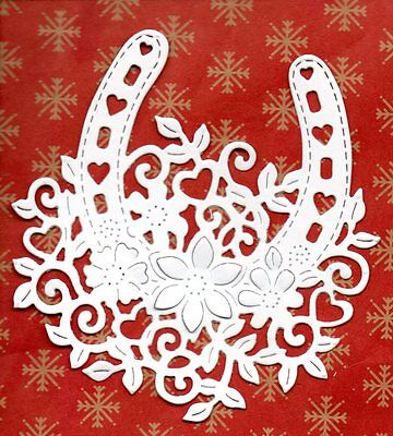 New Floral Horseshoe  Die Cuts -  White Wedding Topper-Anniversary Bride