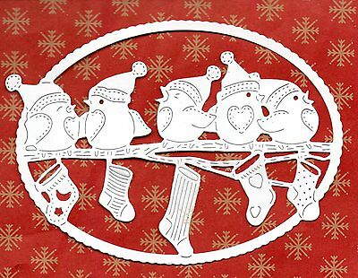 New Tattered Lace Festive Robins Frame Die Cuts  -White Winter Topper Silhouette