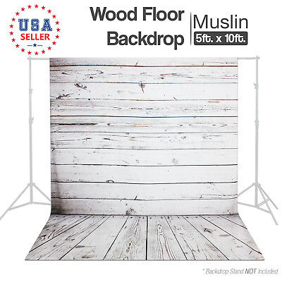 Photography Studio Continuous Lighting Kit Wood Floor Backdrop Wrinkle Resistant