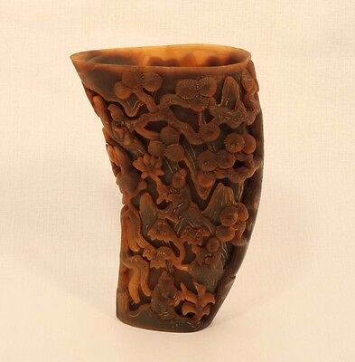 Chinese Antique Ox horn  libation cup