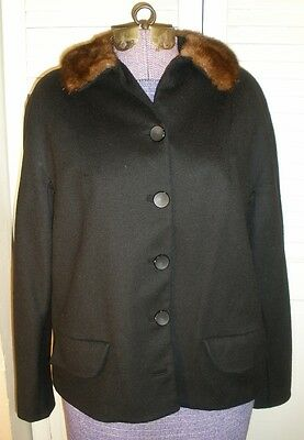Vintage Black Wool Fur Trimmed Jacket