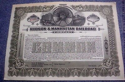 191* Hudson & Manhattan Railroad Ny & Nj Stock Certificate Unissued Pre Path