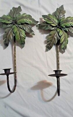 2 Homco Home Interiors Green Metal Palm Tree Sconces