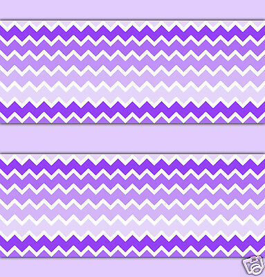 Purple Lavender Ombre Chevron Wallpaper Border Wall Art Decals Baby Girl Nursery