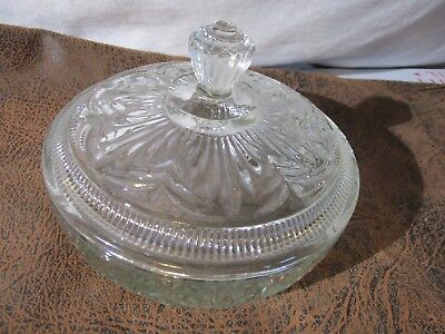Vintage Large Clear Glass Covered Candy Dish Marked Avon  BEAUTIFUL