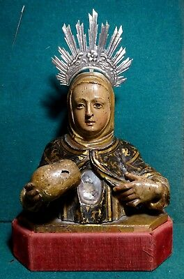 Antique 18th Cent. WOOD RELIQUARY BUST w/ RELIC ST. MARGARET OF CORTONA w/ SKULL