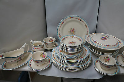Vintage Ivoryware Wood's Pink Floral Blue Rim lot of 47 Pieces