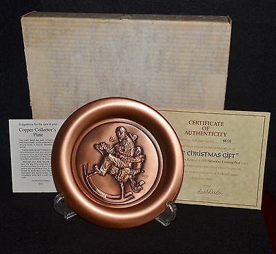 "Norman Rockwell ""the Christmas Gift""  Copper Plate  Nib W/coa"