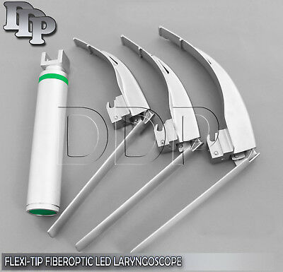 MCCOY FLEXI-TIP FIBEROPTIC LED Laryngoscope SET- MAC # 1 &2 &3+HANDLE