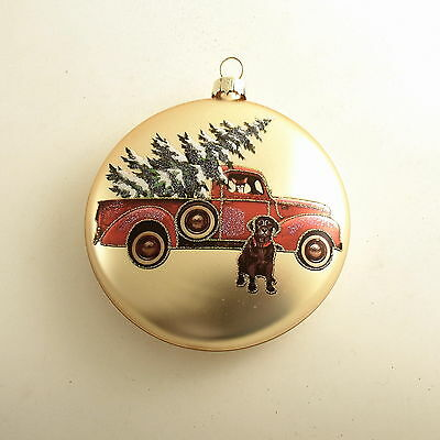Glass Christmas Ornament Dog Pickup Truck