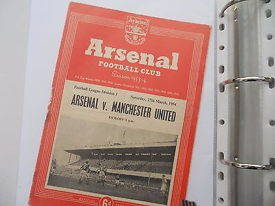 football programme arsenal v manchester united 1953/54 see discription