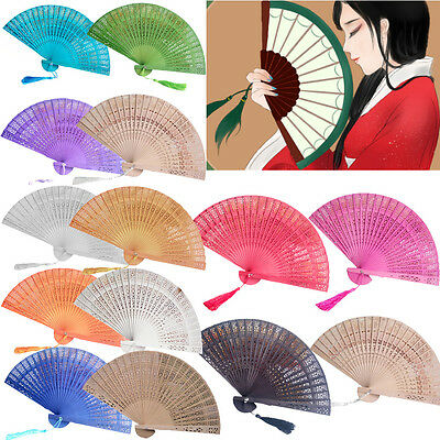 Wedding Hand Fragrant Party Carved Bamboo Folding Fan Chinese Style Wooden #DE5