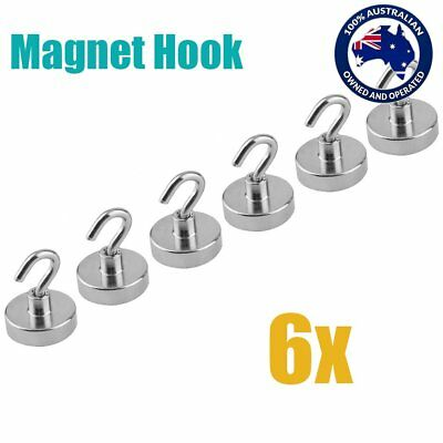 AU 6x 22kg Strongest Rare Earth Neodymium Magnet Magnetic Hanging Hooks Holder T