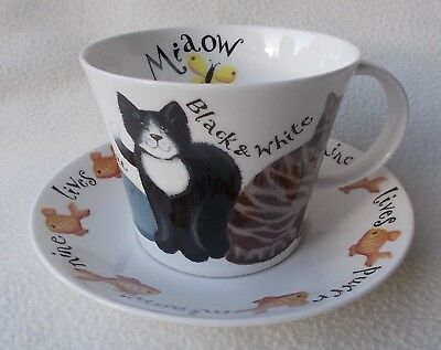 "Roy Kirkham "" Whiskers "" Large Cat Design Bone China Breakfast Cup and Saucer"
