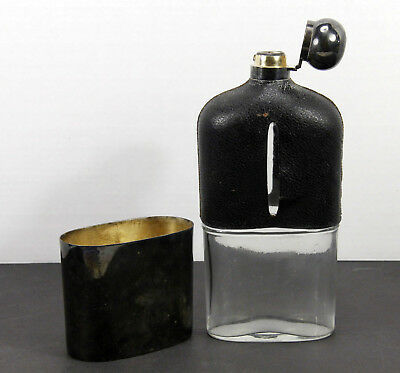 "RARE Antique Silverplate / Leather/ Glass 10"" HIP FLASK John Milner, Sheffield"