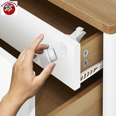 Child Cabinet Locks Proof Magnetic Safe Key Toddler Baby Drawer Cupboard Safety
