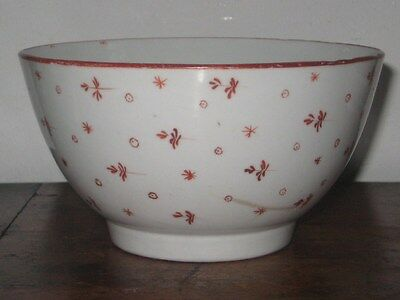 Old New Hall Medium  Bowl Hand Painted Red Stars And Floral Sprig Very Pretty