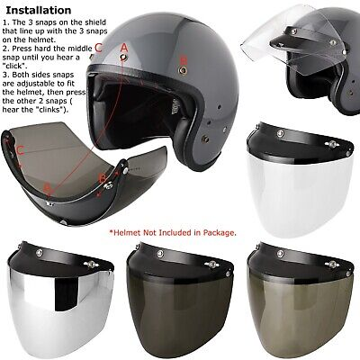Flip-up Face Shield Motor Helmet Wind Visor PC Lens for Most 3 Snap DOT Helmets