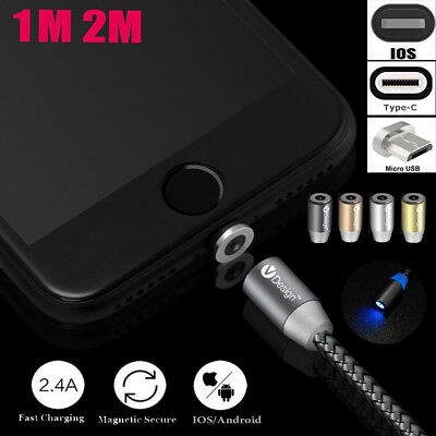 360 Round Magnetic LED Micro USB Type-C Charging Cable For Samsung iPhone 6s 7 P