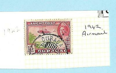 Curacao, Netherlands, Airmail Red 15c Used, good condition