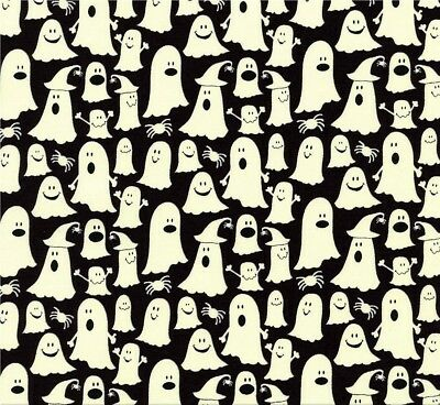 Geister Glow in the Dark Halloween Patchworkstoffe Patchwork Stoffe Ghost Deko