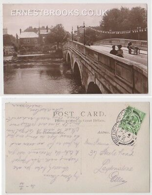 Early Postcard, Bedfordshire, Bedford,The Bridge, Old Houses In Distance,1914,RP
