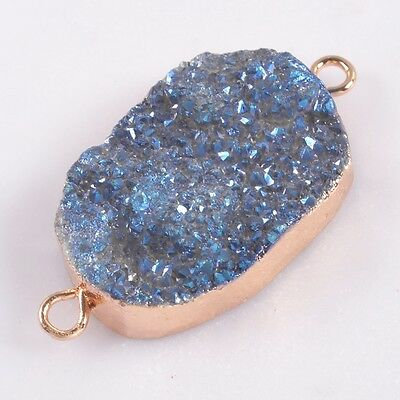 Natural Agate Titanium Druzy Connector Rose Gold Plated H99184