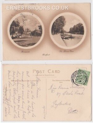Early Postcard, Bedfordshire, Bedford, Riverside, The River Ouse, 1914