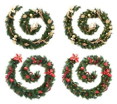 Best Artificial Decorated Red or Decorated Gold Luxury Christmas Garland Lights