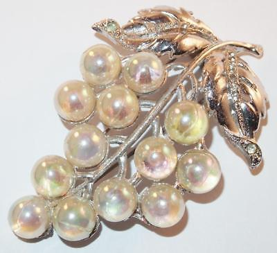 Vintage Large Figural Iridescent Grape Cluster Silvertone Dress Fur Clip Brooch